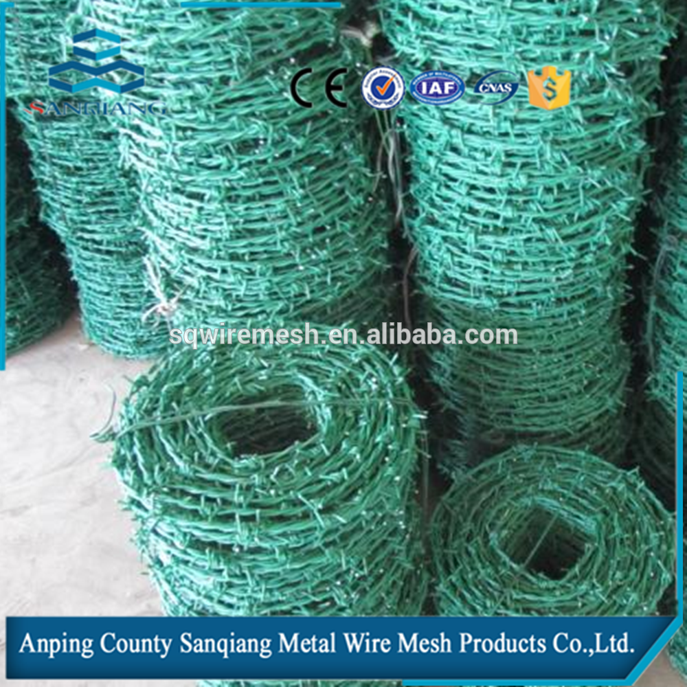 SanQiang hot salePVC Coated Barbed wire length per roll /barbed wire fence/barbed wire price alibaba express
